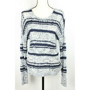 Coldwater Creek Sweater Open Weave LS Striped